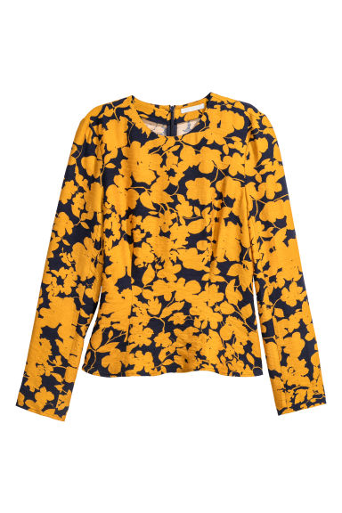 Long-sleeved top - Dark blue/Mustard yellow - Ladies | H&M CN