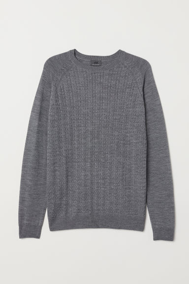 Knitted merino-blend jumper - Grey marl - Men | H&M CN