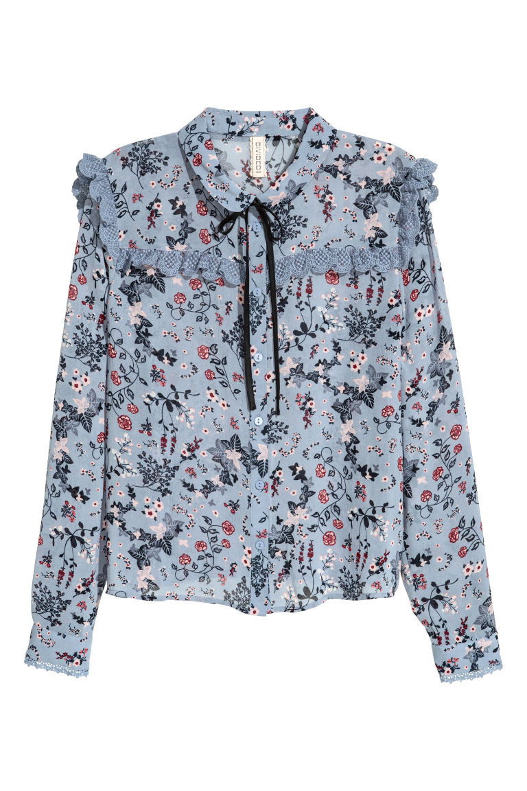 Blouse with ties - Dusky blue - Ladies | H&M
