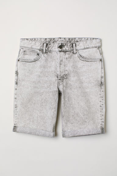 Shorts in denim Slim fit - Grigio chiaro - UOMO | H&M IT