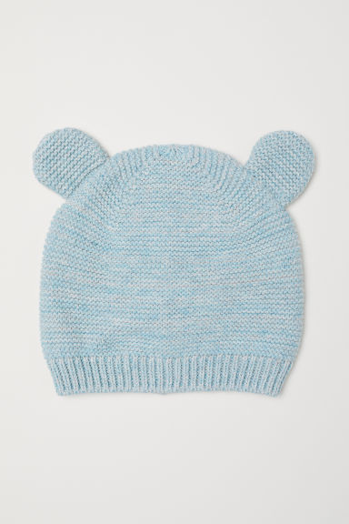 Knit Hat with Ears - Light turquoise melange - Kids | H&M US