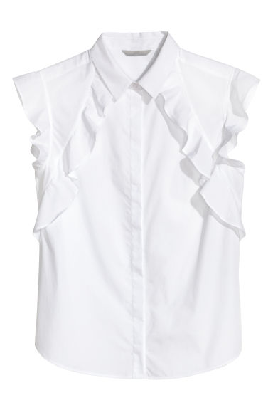 Blouse with flounced sleeves - White - Ladies | H&M CN