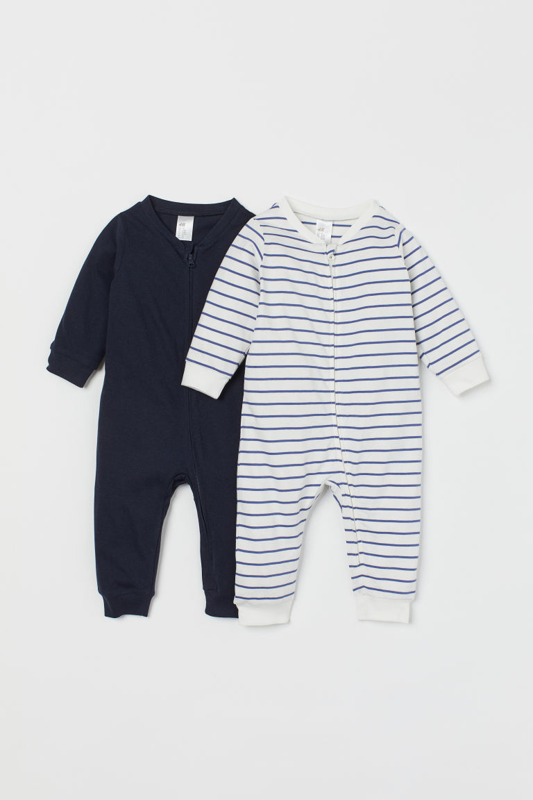 2-pack zip-up pyjamas - White/Dark blue - Kids | H&M
