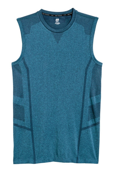Seamless sports top - Blue marl - Men | H&M