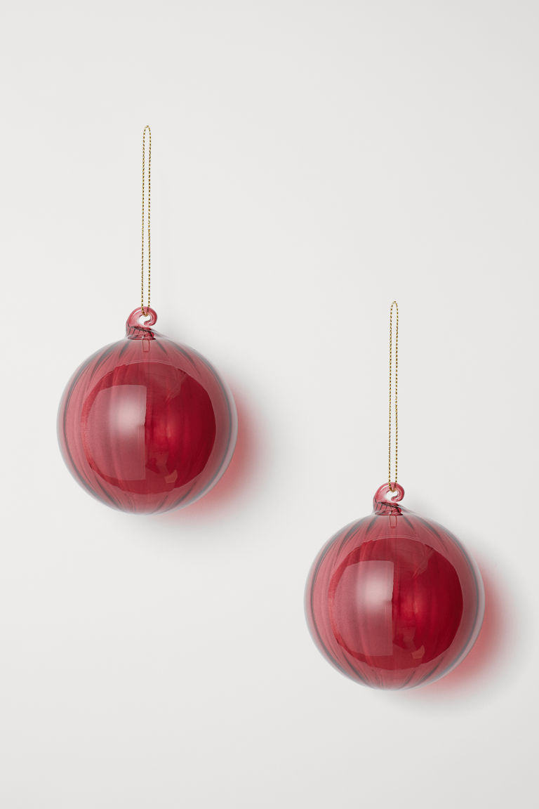 2-pack Christmas decorations - Dark red - Home All | H&M CN
