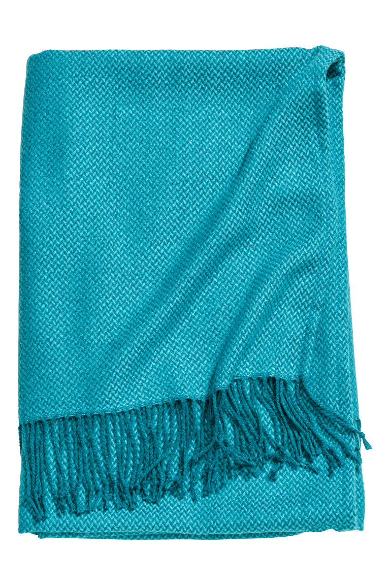 Jacquard-weave blanket - Petrol blue - Home All | H&M CN