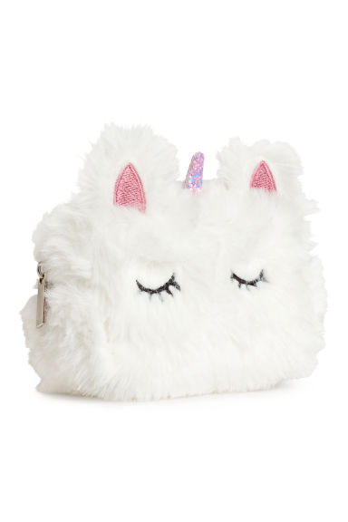 Mini faux fur pouch - White/Unicorn - Ladies | H&M GB