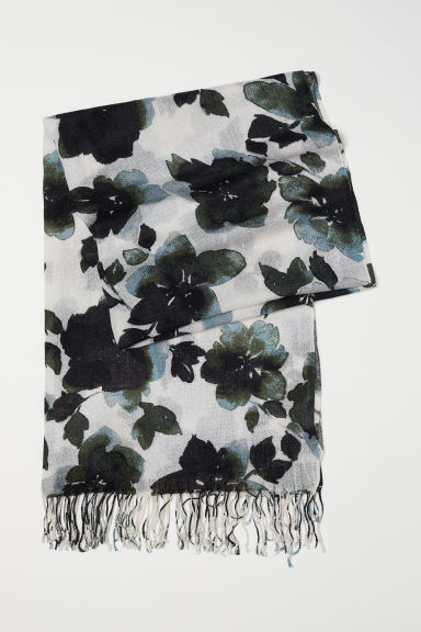 Woven scarf - Natural white/Turquoise floral - Ladies | H&M CN