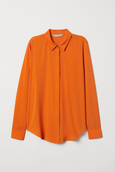 Long-sleeved blouse - Orange - Ladies | H&M GB
