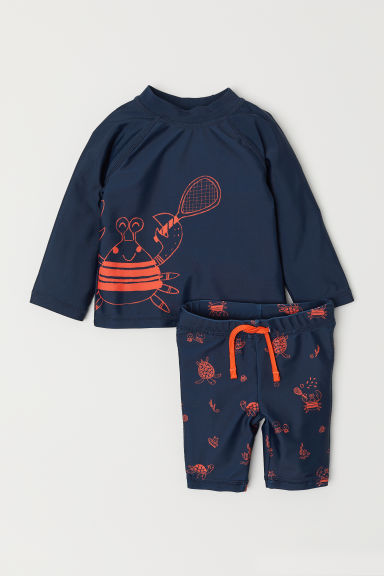 Swim set with UPF 50 - Dark blue/Crab - Kids | H&M