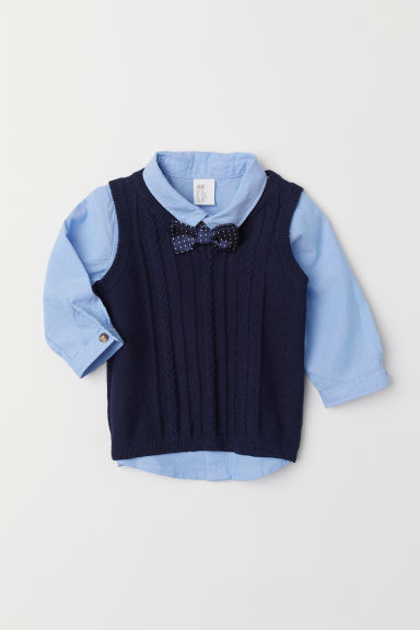 Shirt and slipover - Light blue/Dark blue - Kids | H&M