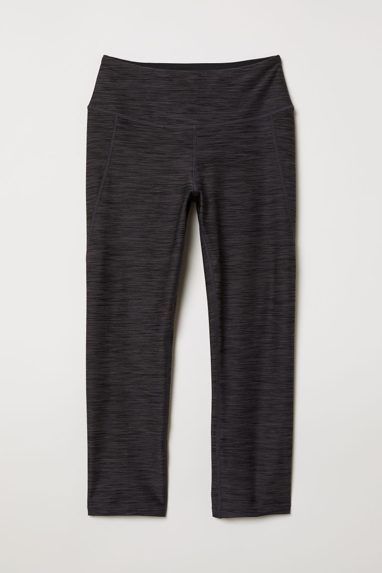 Leggings sportivi a 3/4 - Nero mélange - DONNA | H&M IT