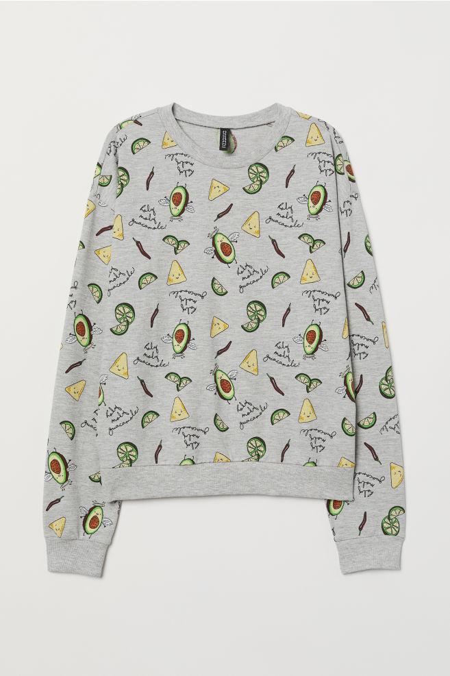 bab1dd0cd1246 Sweatshirt with Printed Design - Gray melange/patterned - Ladies | H&M CA