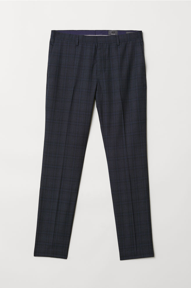 087a60d11d382c Wool-blend Suit Pants - Dark blue/checked - Men | H&M ...