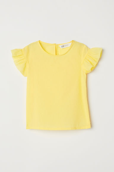 Frill-trimmed blouse - Yellow - Kids | H&M CN