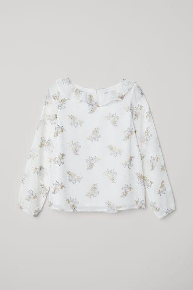 Blouse with a frilled collar - White/Unicorns - Kids | H&M CN