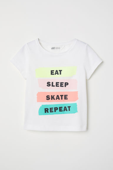 Printed jersey top - White/Eat Sleep Skate -  | H&M