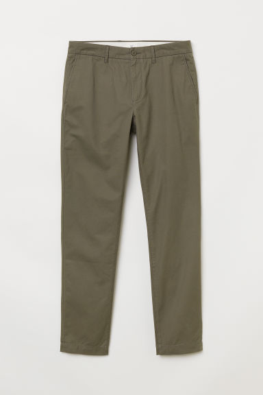 Cotton chinos Slim fit - Dark khaki green - Men | H&M CN