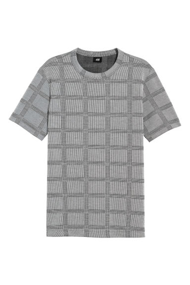 Jacquardgebreid T-shirt - Zwart/wit geruit - HEREN | H&M BE