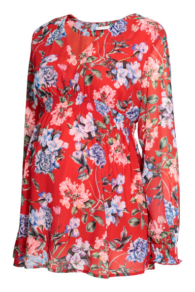 MAMA Patterned blouse - Red/Floral - Ladies | H&M CN