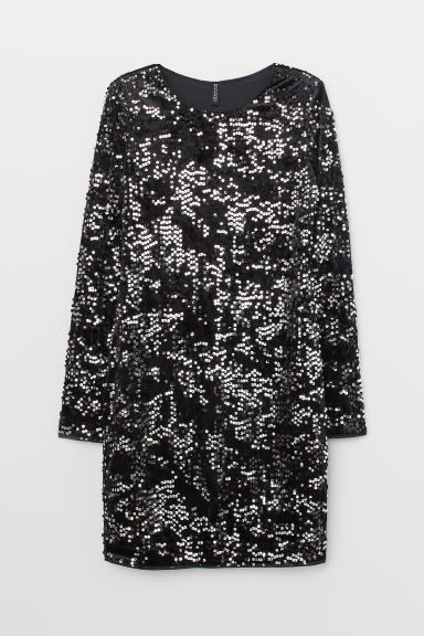 Sequined Velour Dress - Black -  | H&M US