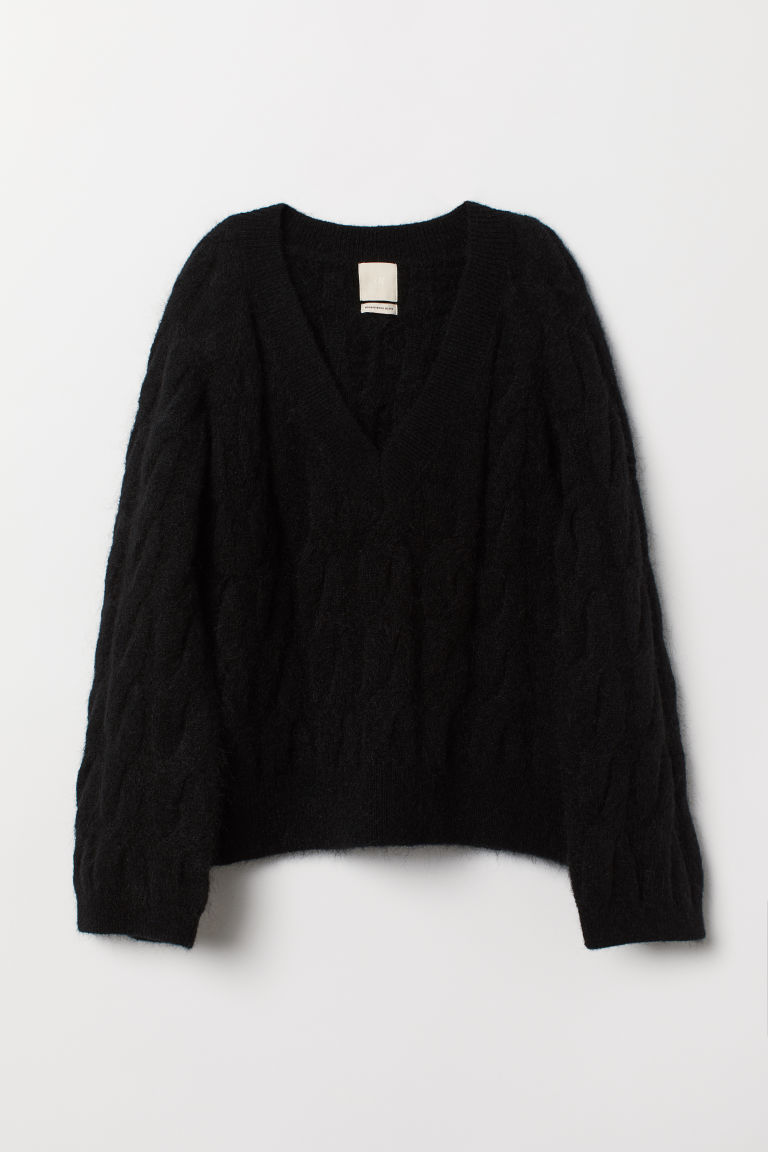 Cable-knit wool-blend jumper - Black - Ladies | H&M