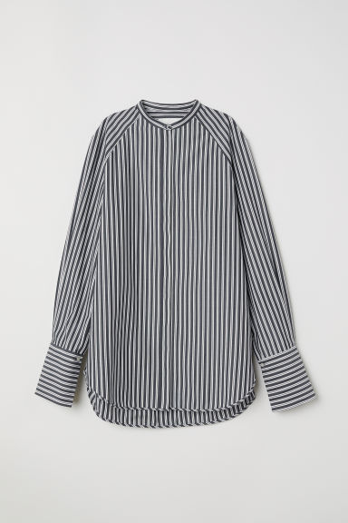 Oversized shirt - Dark blue/Striped -  | H&M