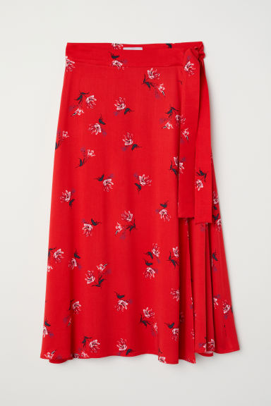 Patterned wrapover skirt - Red/Floral - Ladies | H&M CN