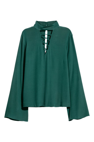 Trumpet-sleeved blouse - Dark green - Ladies | H&M