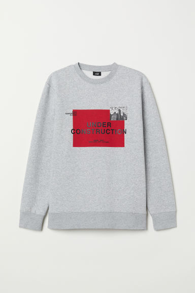 Printed sweatshirt - Light grey marl/Skyline - Men | H&M