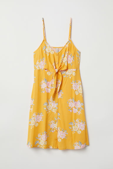 Dress with buttons - Yellow/Floral - Ladies | H&M CN