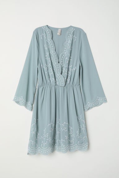 Embroidered dress - Dusky green - Ladies | H&M CN