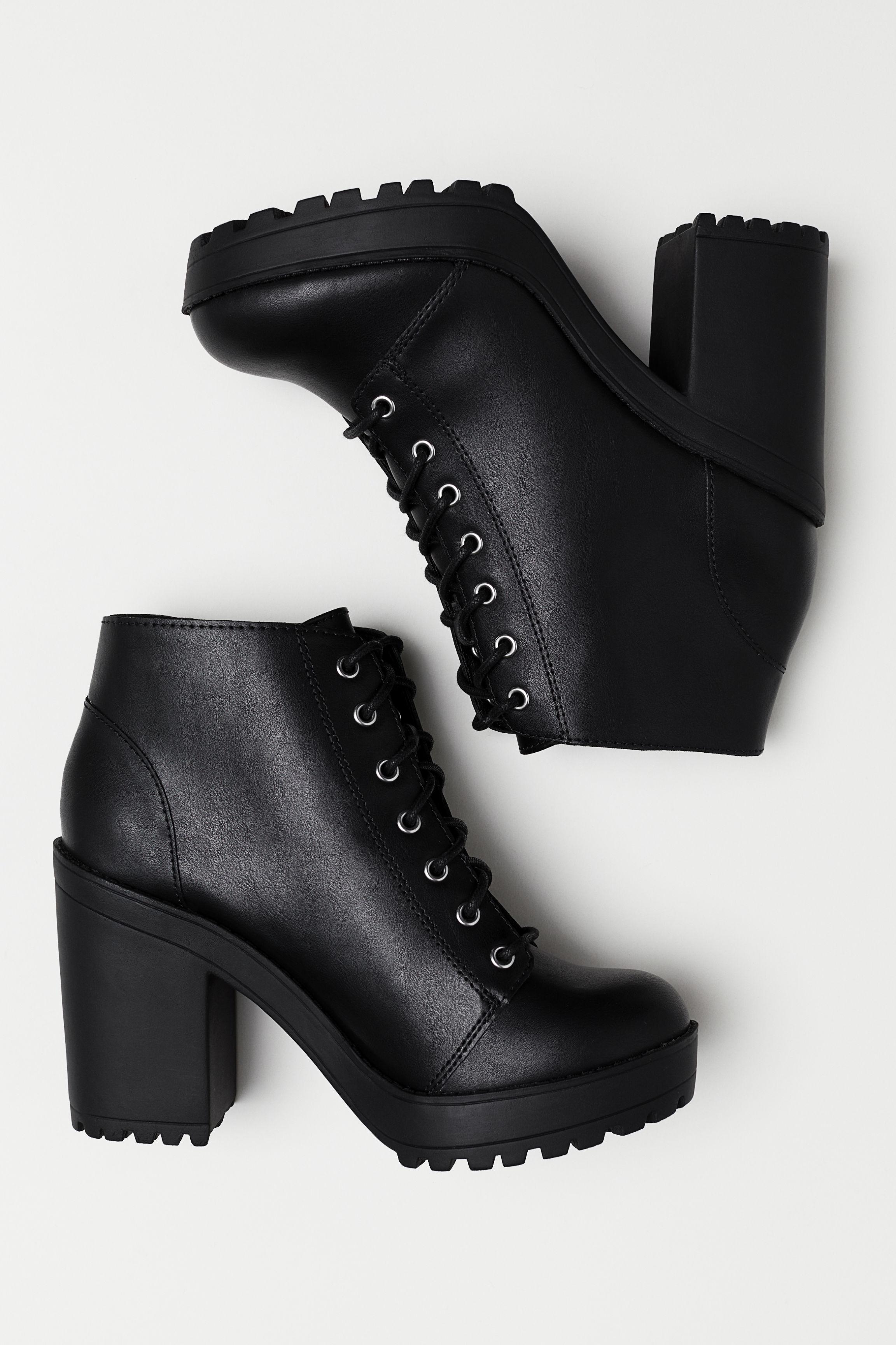 d2c4f001e238f Platform Ankle Boots - Black/faux leather - | H&M US