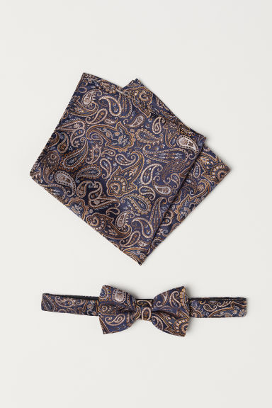Bow tie and handkerchief - Dark blue/Paisley-patterned - Men | H&M