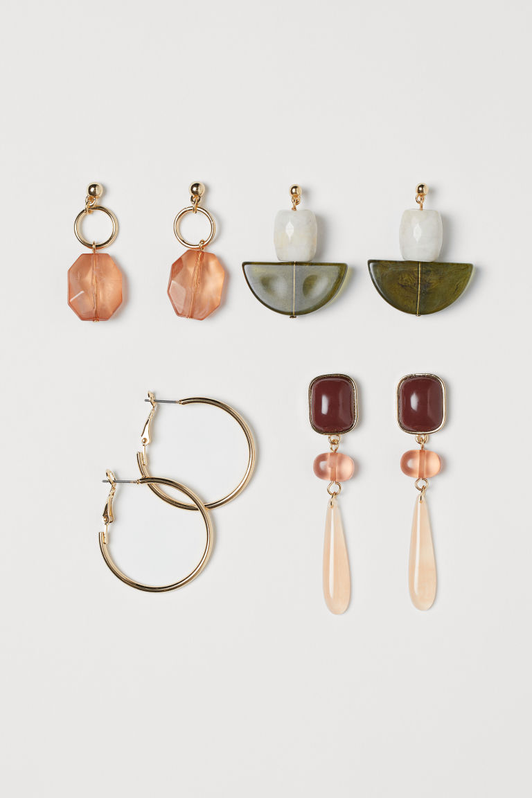 4 pairs earrings - Gold-coloured - Ladies | H&M IE