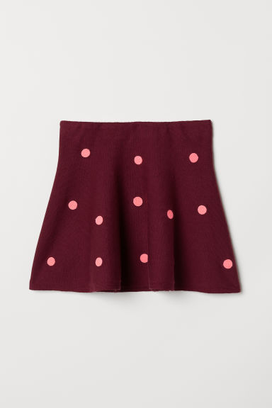 Fine-knit skirt - Burgundy/Pink spotted - Kids | H&M