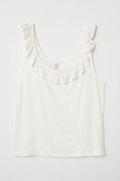 Vest top with a flounce - White -  | H&M