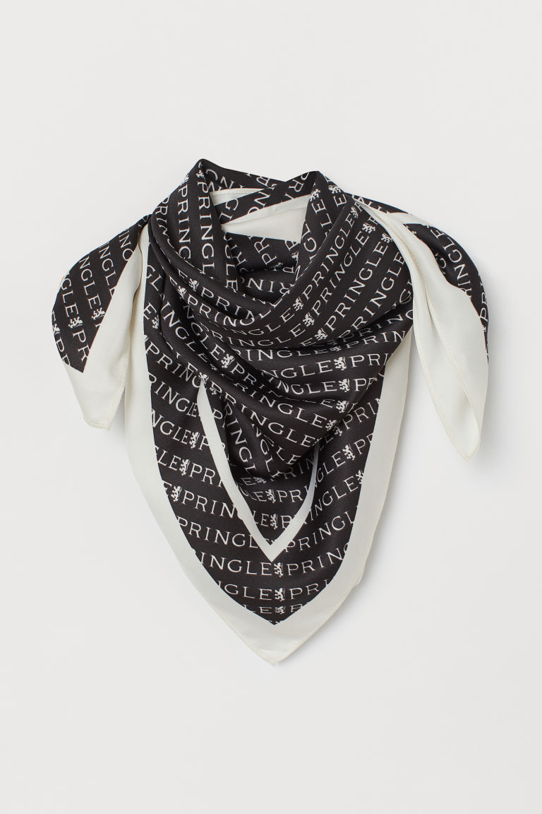 Patterned satin scarf - Black/White patterned - Ladies | H&M