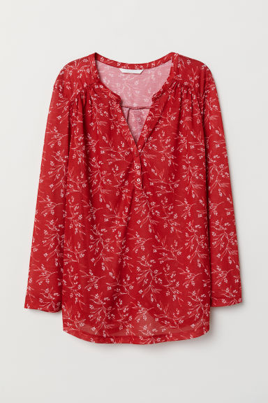 V-neck top - Red/Floral - Ladies | H&M