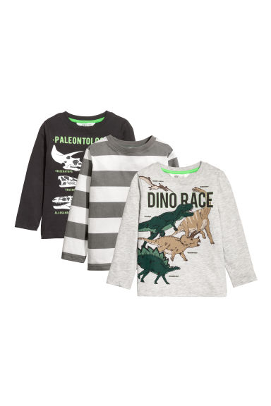 3-pack jersey tops - Black/Dinosaurs - Kids | H&M CN