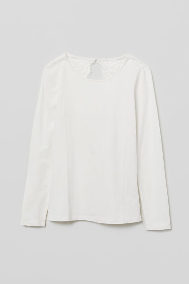 Top in jersey con pizzo - Crema - DONNA | H&M IT
