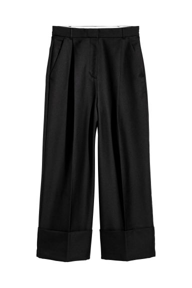Wide wool-blend twill trousers - Black -  | H&M CN