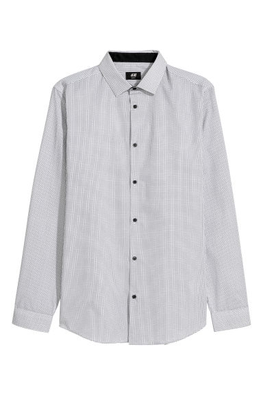 Cotton-blend shirt Slim fit - White/Black checked -  | H&M