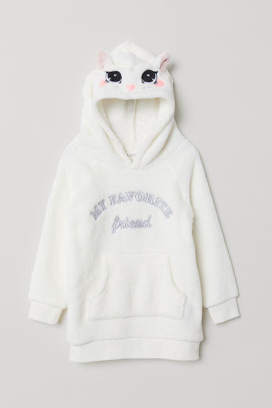 Hooded fleece top - Natural white/Cat - Kids | H&M CN