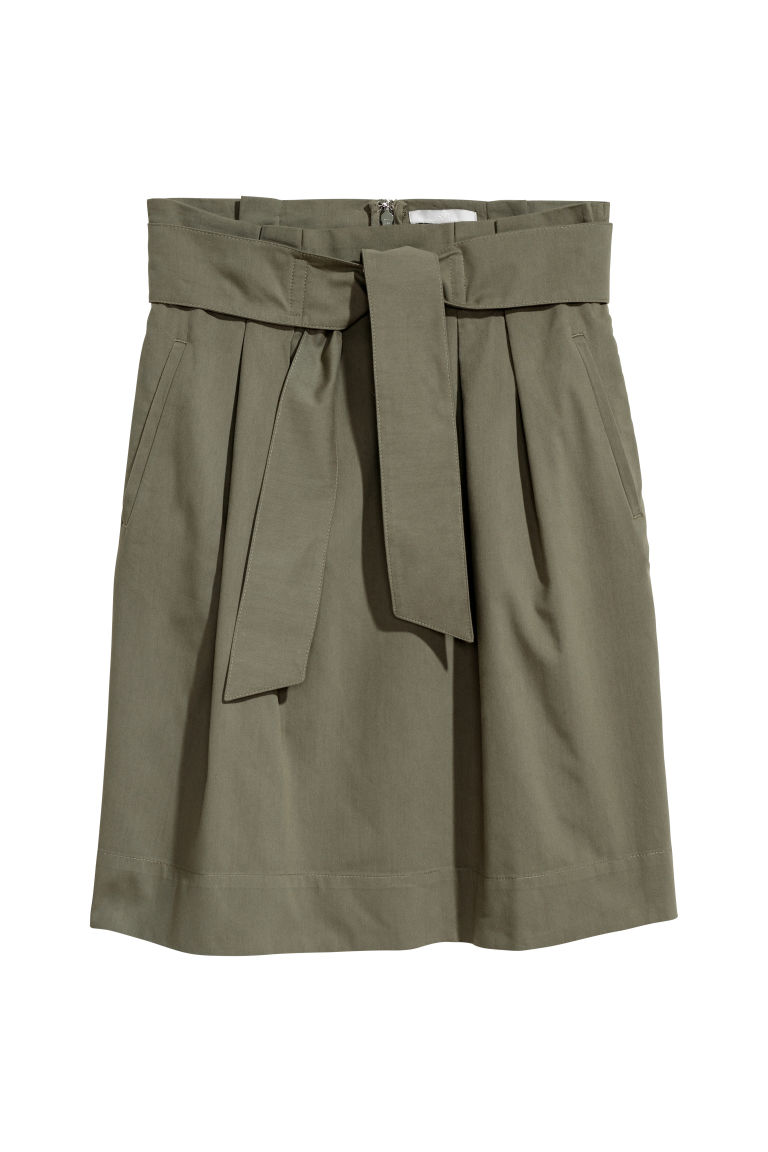 Skirt with a tie belt - Khaki green - Ladies | H&M CN