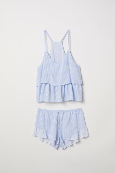 Pyjama strappy top and shorts - Light blue/White striped - Ladies | H&M CN
