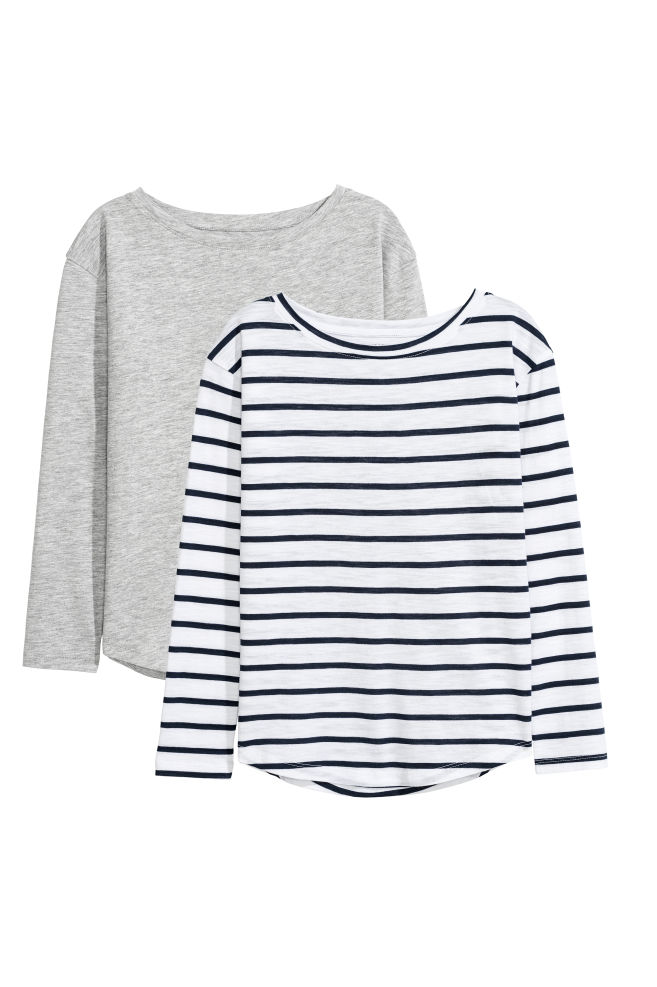 d97ac75d66 2-pack tops - White/Striped - Kids | H&M ...