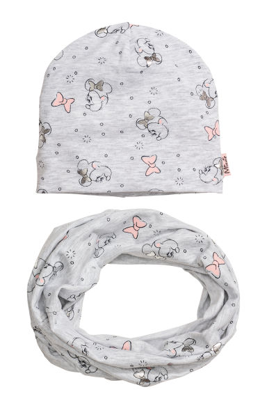Hat and tube scarf - Light grey/Minnie Mouse - Kids | H&M CN