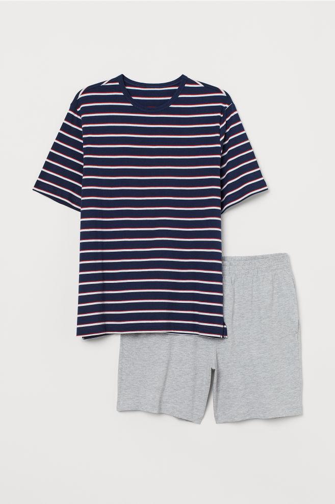 d2a88f31604fa Pyjama T-shirt and shorts - Dark blue/Striped - Men | H&M 1