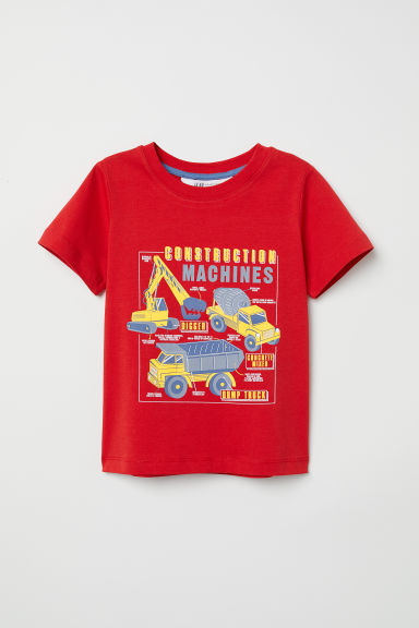 T-shirt avec impression - Rouge/machines de chantier -  | H&M CH